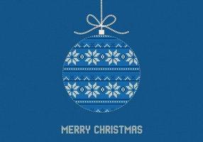 Blauer gestrickter frohe Weihnacht-Vektor-Hintergrund