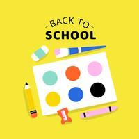 Tillbaka till skolan med skolverktyg, blyertspenna, pensel, spruta, skärp och färger vektor