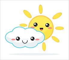 Niedliche kawaii Karikatur des Wettervorhersage-Vektors.