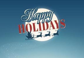 Santa och Ren Happy Holiday Vector Bakgrund