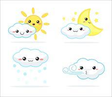 Wettervorhersage kawaii Cartoonregenbogenwolken, -sonne und -mond, die niedlich und bunt schauen.