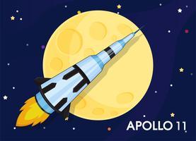 Apollo 11 Rumfartyg skickades för att utforska världens första månar. vektor
