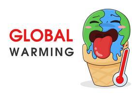 Globale Erwärmung wie Eiscreme, die aufgrund hoher Temperaturen schmilzt. vektor