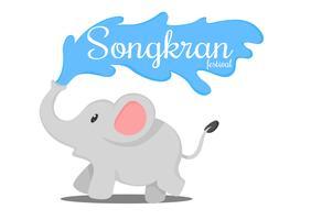 Thailändska elefanter plaska i Songkran-traditionen i Thailand. vektor