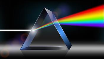Optik Physik. Das weiße Licht scheint durch das Prisma. Produziere Regenbogenfarben im Illustrator. vektor