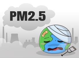 Industrianläggningar som släpper ut damm och giftiga ångor PM 2.5 skadar världen. vektor
