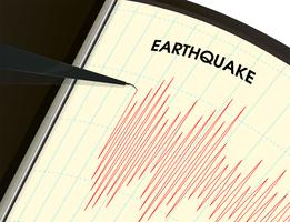 Jordbävningsövervakningsverktyg Vibrationsmätningen visas som en röd linjediagram.