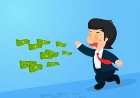 Geschäftsmannkarikatur, die entlang dem Geld läuft, das weg fliegt. Geschäftsversagen.
