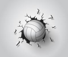 Volleyboll på väggen bruten. Illustration Vektor EPS10.