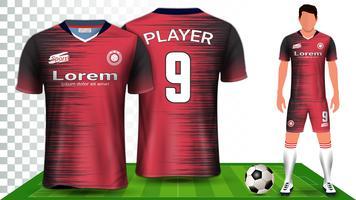 Fußballtrikot, Trikot oder Fußballtrikot Uniform Presentation Mockup Template.