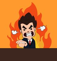 Verärgerter Chef Cartoon Smash die Tabelle, die Ärger mit einem orange Flammenhintergrund zeigt