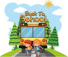 Eleverna går till skolan med buss