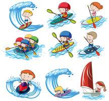 Eine Reihe von Wassersportarten vektor