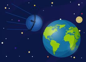 Sputnik Det är den första satelliten som kretsar jorden. Den första satelliten tar en hund i rymden. vektor