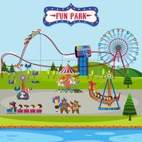 Rolig park och åkattraktioner