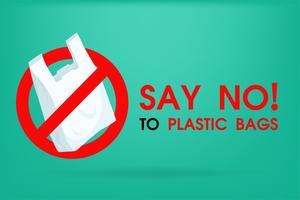 Ideen zur Reduzierung der Umweltverschmutzung Lehnen Sie Plastiktüten ab. Deshalb der Treibhauseffekt. Die Kampagne, um den Einsatz von Plastiktüten zu reduzieren. vektor