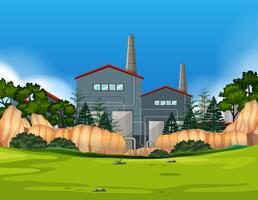Fabrik in der Naturlandschaft vektor