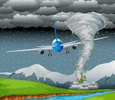 Flygplan som flyger på dåligt väder