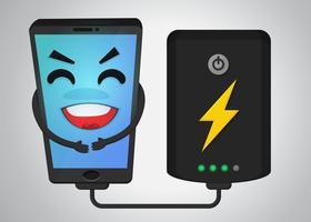 Glückliche Handykarikatur Weil, Strom von der Batterie powerbank empfangend.