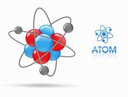 Vetenskapen om molekylära studier av atomer består av protoner, neutroner och elektroner. Bana runt vektor