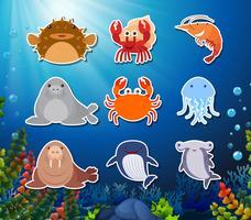 Set av undervattens varelse karaktär