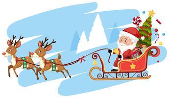 Santa Claus Riding Sleigh Mall vektor