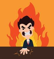 Verärgerter Chef Cartoon Smash die Tabelle, die Ärger mit einem orange Flammenhintergrund zeigt vektor