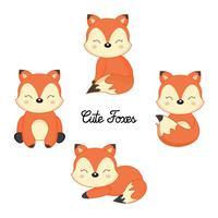 Set av söta lilla rävar i tecknad stil.
