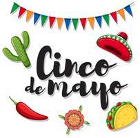 Cinco de Mayo med mexikanska ornament vektor