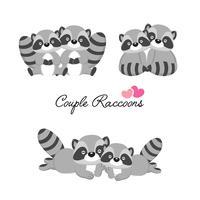 Sats av par tvättbjörnar i kärlek till Alla hjärtans dag. vektor