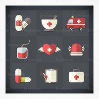 Platt medicinsk ikon vektor pack