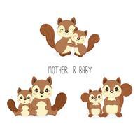 Ekorre mamma och baby. Vektor illustration.