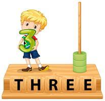 Mathe-Abakus Nummer drei vektor