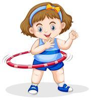 En tjej som spelar hoola Hoop vektor
