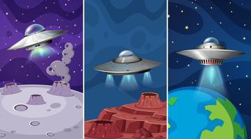 Eine Reihe von Raum und UFO