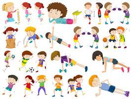 Reihe von verschiedenen aktiven Menschen vektor