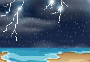 Gewitter an der Strandlandschaft vektor