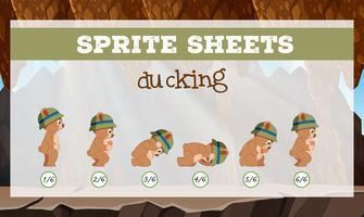 sprite sheet bear ducking vektor