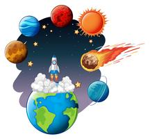 Raketenstart in den Weltraum vektor