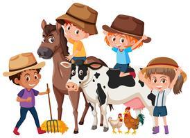 Kinder mit Nutztieren
