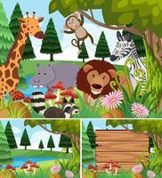Hintergrundszenen mit wilden Tieren und Brett
