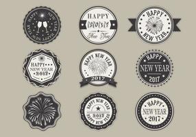 Glückliches neues Jahr-Aufkleber-vektor-Satz