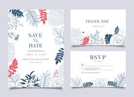 Tropische Hochzeits-Blumenrahmen-Hintergrund-Einladung vektor
