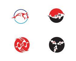Fisk KOI-logotyp och symbol djur vektor