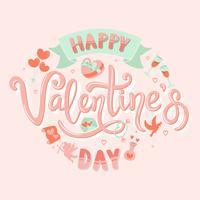 Glückliche handgeschriebene Kalligraphie / Typografie Valentines Tagesmit Ikonen-gesetzter Sammlungs-Vektor-Illustration