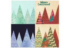 Patchwork Weihnachtsbaum Vektor Hintergrund Pack
