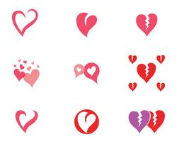 Liebesherzlogo und -schablone vektor
