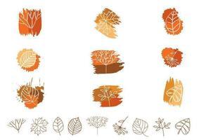 Umrissenes Blatt- und Pflanzenvektor-Satz