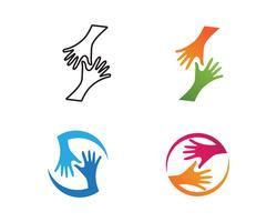 Handskaktsymbollogo och symbolvektor vektor