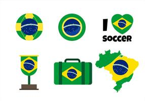 Brasilien Flagge Clipart Set vektor